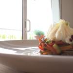 Salteado de Verduras al estilo Oriental con Huevo Poché