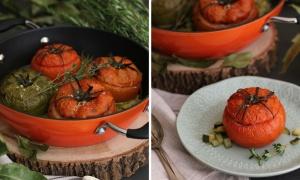Tomates al horno rellenos de carne