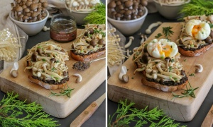Mushrooms and Poached Eggs Toast