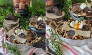 Setas, huevo y trufa negra