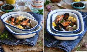 Seafood with white wine