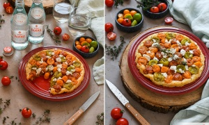 Tatin of cherry tomatoes and goat cheese
