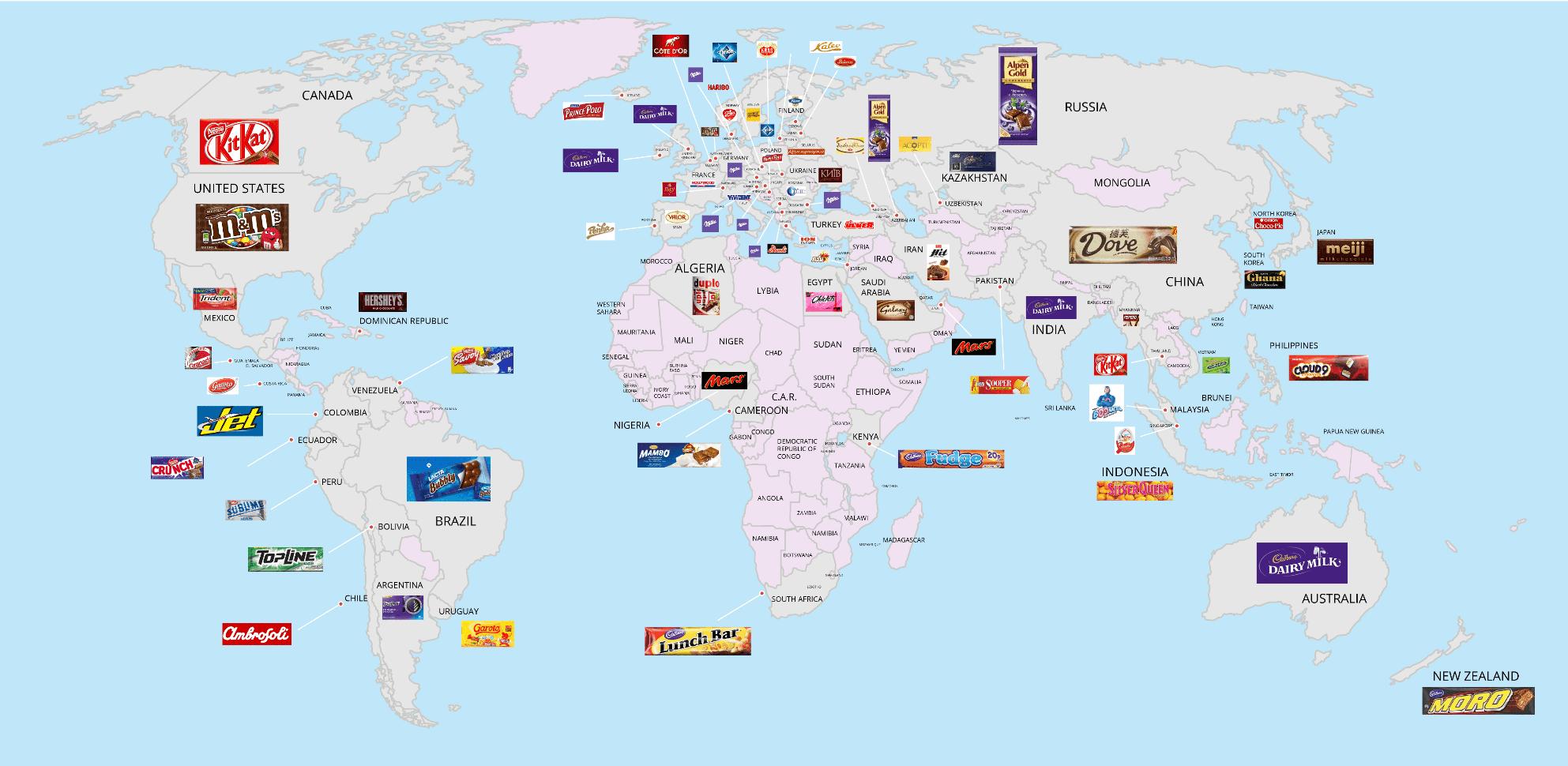 Mapa del consumo de golosinas y chocolates